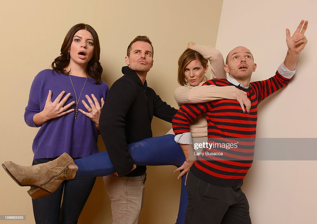 Actor Casey Wilson, director Chris Nelson, actors June Diane Raphael and Paul Scheer pose for a portrait during the 2013 Sundance Film Festival at the Getty Images Portrait Studio at Village at the Lift on January 21, 2013 in Park City, Utah.