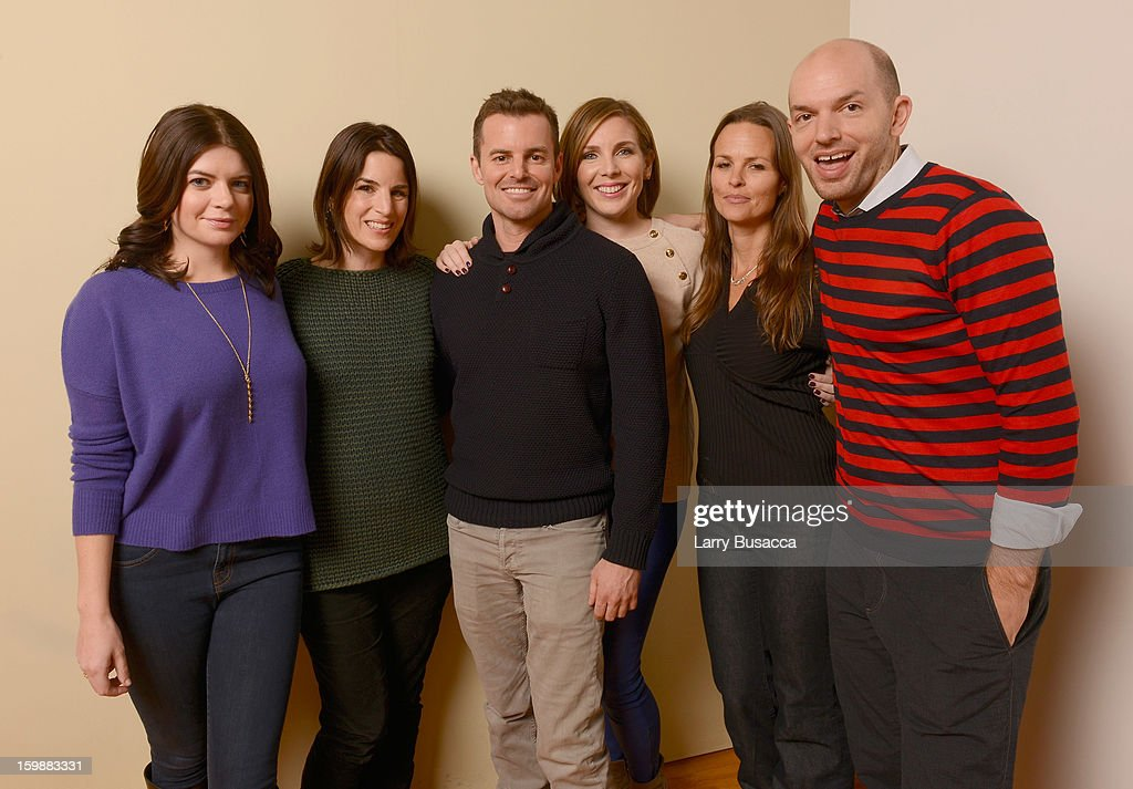 Actor Casey Wilson, producer Elysa Koplovitz, director Chris Nelson, actor June Diane Raphael, producer Heather Rae and actor Paul Scheer pose for a portrait during the 2013 Sundance Film Festival at the Getty Images Portrait Studio at Village at the Lift on January 21, 2013 in Park City, Utah.