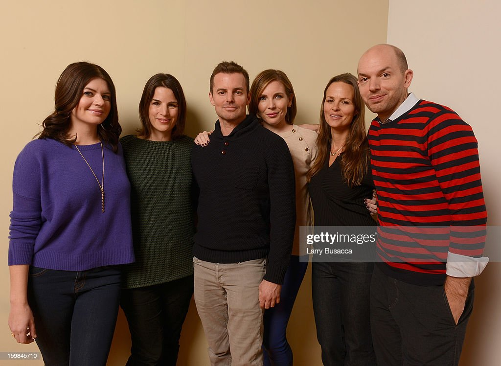 Actor Casey Wilson, producer Elysa Koplovitz, writer/director Chris Nelson, actor June Diane Raphael, producer Heather Rae and actor Paul Scheer pose for a portrait during the 2013 Sundance Film Festival at the Getty Images Portrait Studio at Village at the Lift on January 21, 2013 in Park City, Utah.
