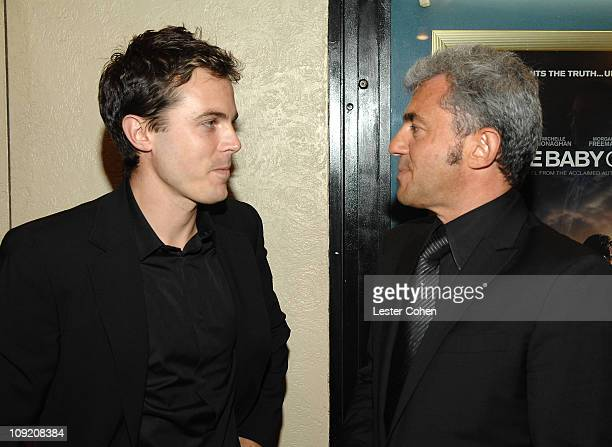 Actor Cassey Affleck and Miramax president Daniel Battsek arrives to the premiere of 'Gone Baby Gone' at Mann Bruin Theater on October 8 2007 in...