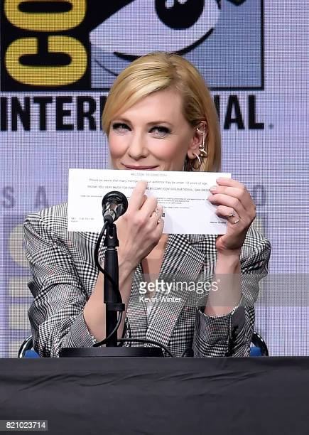 Actor Cate Blanchett at the Marvel Studios 'Thor Ragnarok' Presentation during ComicCon International 2017 at San Diego Convention Center on July 22...