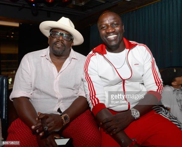 Actor Cedric the Entertainer and recording artist Akon attend the Showtime WME IME and Mayweather Promotions VIP PreFight party for Mayweather vs...