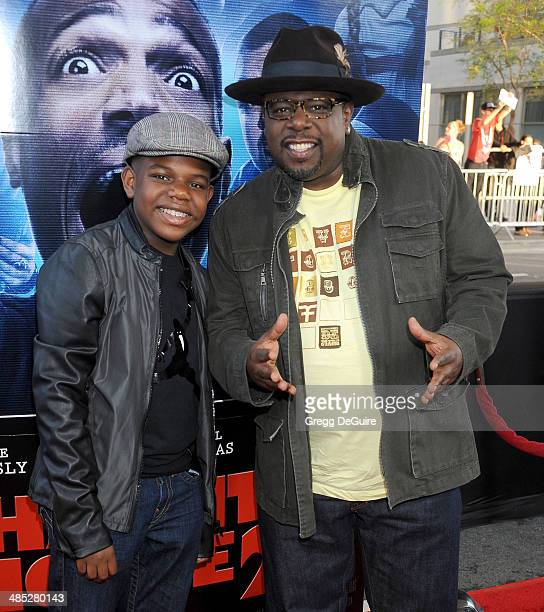 Actor Cedric the Entertainer and son Croix arrive at the Los Angeles premiere of 'A Haunted House 2' at Regal Cinemas LA Live on April 16 2014 in Los...