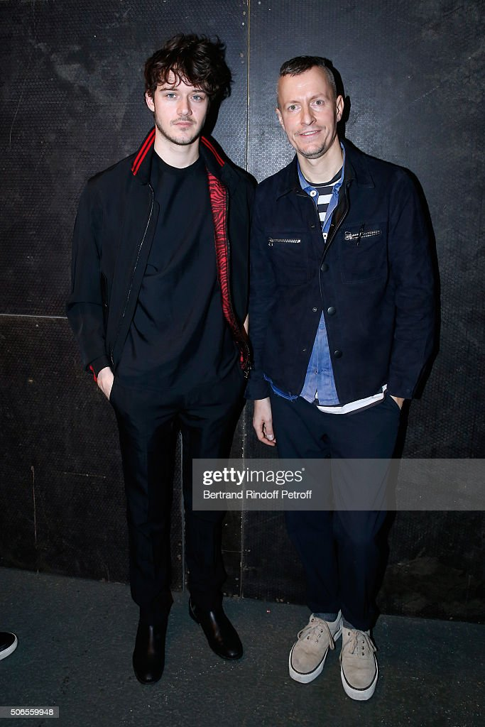 Actor Cesar Domboy and Stylist Lucas Ossendrijver attend the Lanvin Menswear Fall/Winter 2016-2017 show as part of Paris Fashion Week on January 24, 2016 in Paris, France.