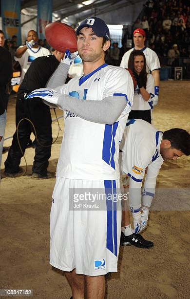 Actor Chace Crawford competes during DIRECTV's Fifth Annual Celebrity Beach Bowl at Victory Park on February 5 2011 in Dallas Texas
