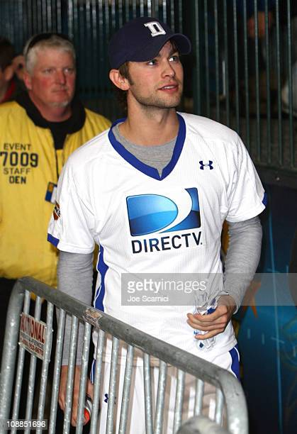 Actor Chace Crawford competes in DIRECTV's Fifth Annual Celebrity Beach Bowl at Victory Park on February 5 2011 in Dallas Texas