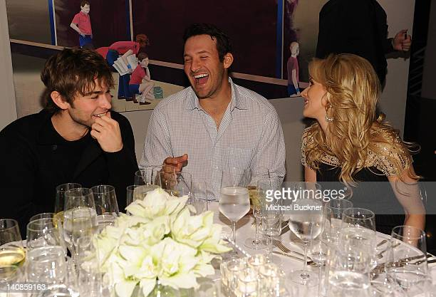 Actor Chace Crawford Dallas Cowboys Quarterback Tony Romo and television personality Candice Crawford attend a private dinner hosted by Audi during...