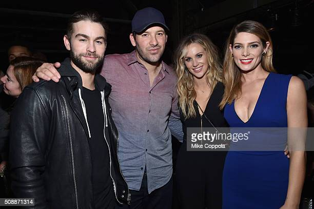 Actor Chace Crawford NFL player Tony Romo reporter Candice Crawford and actress Ashley Greene attend the DirecTV Super Saturday Night cohosted by...