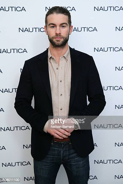 Actor Chace Crawford poses backstage at the Nautica Men's Fall 2016 fashion show during New York Fashion Week Men's Fall/Winter 2016 at Skylight...