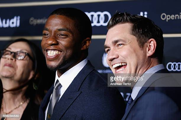 Actor Chadwick Boseman and director Tate Taylor attend the 'Get On Up' Opening Film and Opening Ceremony of the Zurich Film Festival 2014 on...