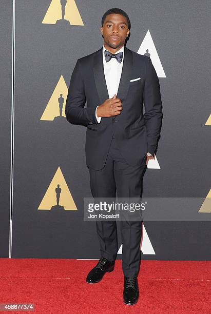 Actor Chadwick Boseman arrives at the Academy Of Motion Picture Arts And Sciences' Governors Awards at The Ray Dolby Ballroom at Hollywood Highland...