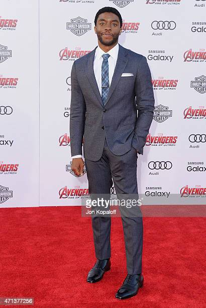 Actor Chadwick Boseman arrives at the Los Angeles Premiere Marvel's 'Avengers Age Of Ultron' at Dolby Theatre on April 13 2015 in Hollywood California