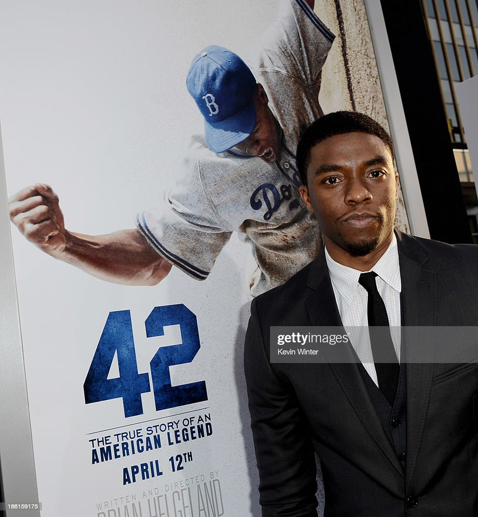 Actor <a gi-track='captionPersonalityLinkClicked' href=/galleries/search?phrase=Chadwick+Boseman&family=editorial&specificpeople=8825549 ng-click='$event.stopPropagation()'>Chadwick Boseman</a> arrives at the premiere of Warner Bros. Pictures' and Legendary Pictures' '42' at the Chinese Theatre on April 9, 2013 in Los Angeles, California.