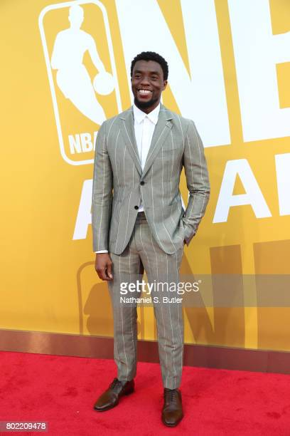 Actor Chadwick Boseman arrives at the red carpet at the NBA Awards Show on June 26 2017 at Basketball City at Pier 36 in New York City New York NOTE...