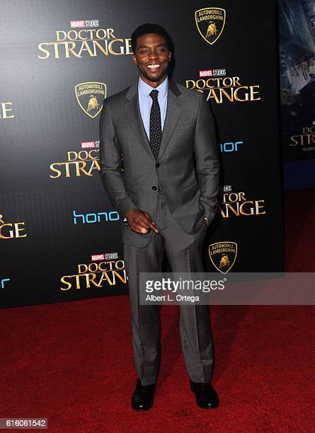 Actor Chadwick Boseman arrives for the Premiere Of Disney And Marvel Studios' 'Doctor Strange' held at the El Capitan Theatre on October 20 2016 in...