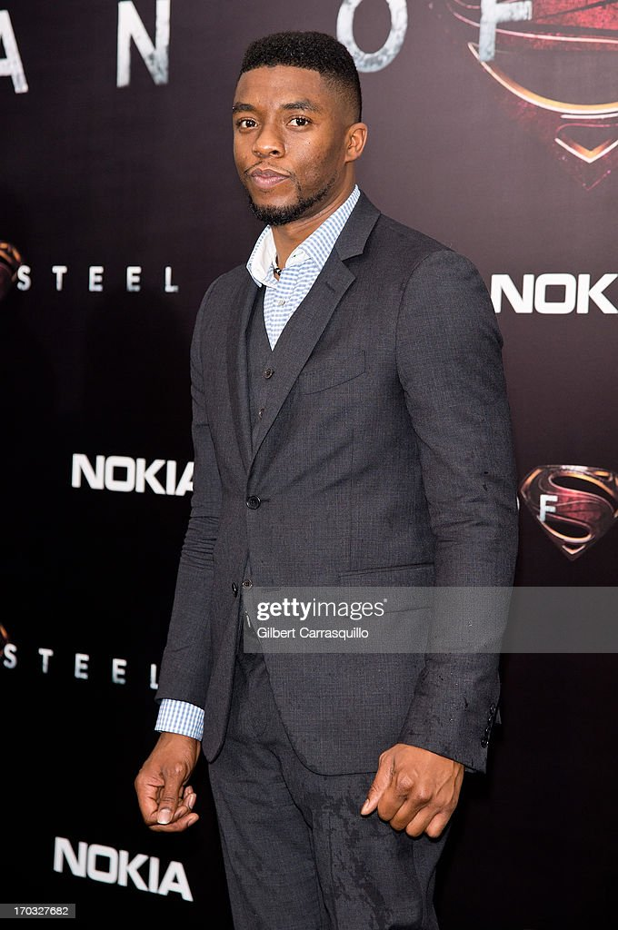 Actor <a gi-track='captionPersonalityLinkClicked' href=/galleries/search?phrase=Chadwick+Boseman&family=editorial&specificpeople=8825549 ng-click='$event.stopPropagation()'>Chadwick Boseman</a> attends 'Man Of Steel' World Premiere at Alice Tully Hall at Lincoln Center on June 10, 2013 in New York City.
