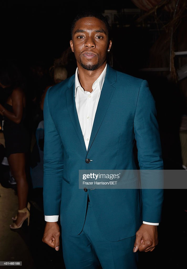 Actor <a gi-track='captionPersonalityLinkClicked' href=/galleries/search?phrase=Chadwick+Boseman&family=editorial&specificpeople=8825549 ng-click='$event.stopPropagation()'>Chadwick Boseman</a> attends the BET AWARDS '14 at Nokia Theatre L.A. LIVE on June 29, 2014 in Los Angeles, California.