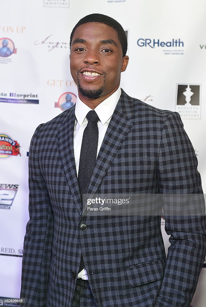 Actor <a gi-track='captionPersonalityLinkClicked' href=/galleries/search?phrase=Chadwick+Boseman&family=editorial&specificpeople=8825549 ng-click='$event.stopPropagation()'>Chadwick Boseman</a> attends the Get On Up premiere at Regal 20 Cinemas on July 24, 2014 in Augusta, Georgia.