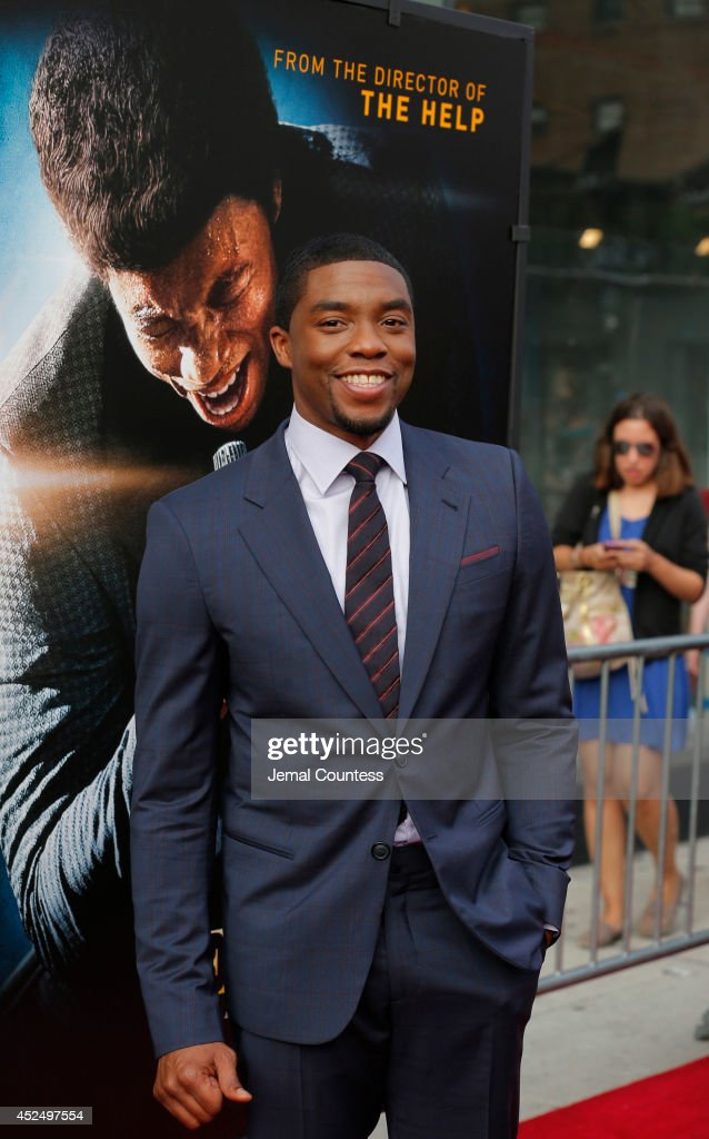 Actor Chadwick Boseman attends the 'Get On Up' premiere at The Apollo Theater on July 21, 2014 in New York City.