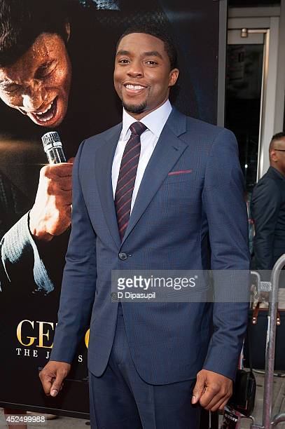 Actor Chadwick Boseman attends the 'Get On Up' premiere at The Apollo Theater on July 21 2014 in New York City