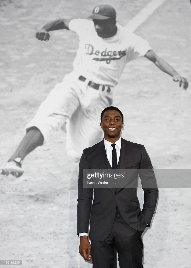 Actor Chadwick Boseman attends the Los Angeles Premiere of Warner Bros. Pictures' and Legendary Pictures' '42' at TCL Chinese Theatre on April 9, 2013 in Hollywood, California.