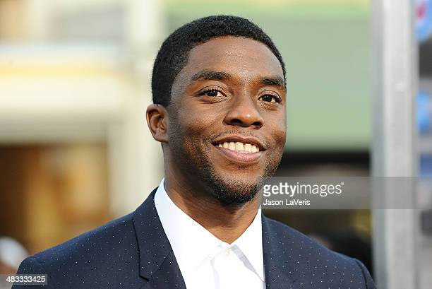 Actor Chadwick Boseman attends the premiere of 'Draft Day' at Regency Bruin Theatre on April 7 2014 in Los Angeles California