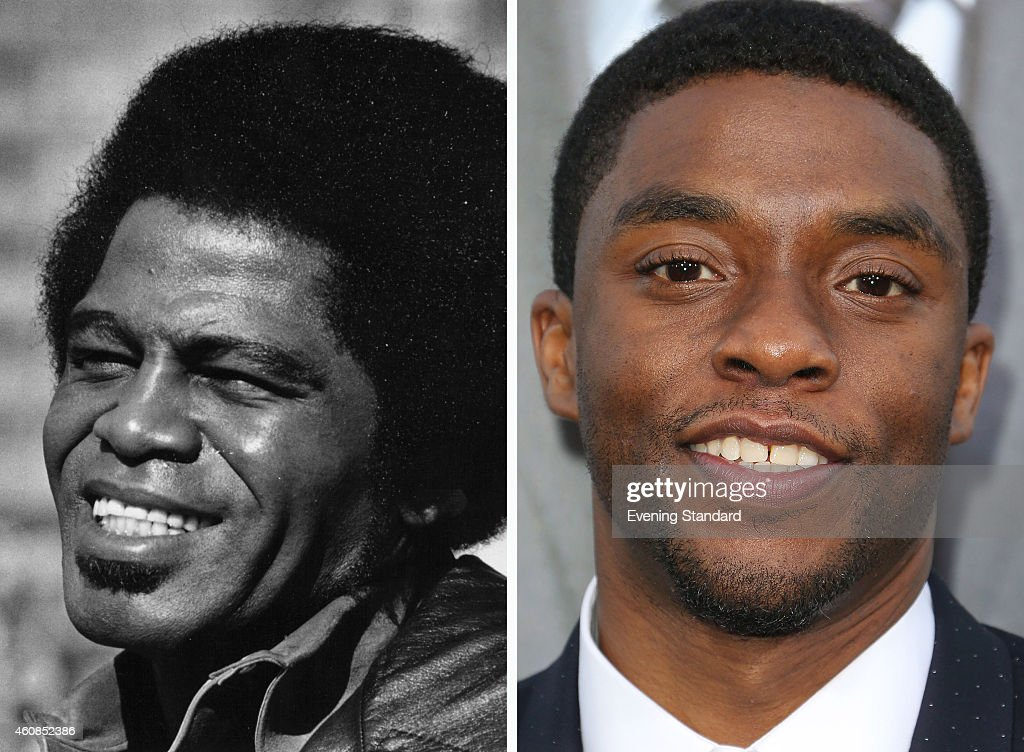 In this composite image a comparison has been made between <a gi-track='captionPersonalityLinkClicked' href=/galleries/search?phrase=James+Brown+-+Cantante&family=editorial&specificpeople=171462 ng-click='$event.stopPropagation()'>James Brown</a> (L) and actor <a gi-track='captionPersonalityLinkClicked' href=/galleries/search?phrase=Chadwick+Boseman&family=editorial&specificpeople=8825549 ng-click='$event.stopPropagation()'>Chadwick Boseman</a>. Actor <a gi-track='captionPersonalityLinkClicked' href=/galleries/search?phrase=Chadwick+Boseman&family=editorial&specificpeople=8825549 ng-click='$event.stopPropagation()'>Chadwick Boseman</a> will reportedly play singer <a gi-track='captionPersonalityLinkClicked' href=/galleries/search?phrase=James+Brown+-+Cantante&family=editorial&specificpeople=171462 ng-click='$event.stopPropagation()'>James Brown</a> in a film biopic 'Get on Up' directed by Tate Taylor. LOS ANGELES, CA - APRIL 07: Actor <a gi-track='captionPersonalityLinkClicked' href=/galleries/search?phrase=Chadwick+Boseman&family=editorial&specificpeople=8825549 ng-click='$event.stopPropagation()'>Chadwick Boseman</a> attends the Premiere of Summit Entertainment's 'Draft Day' at the Regency Bruin Theatre on April 7, 2014 in Los Angeles, California.
