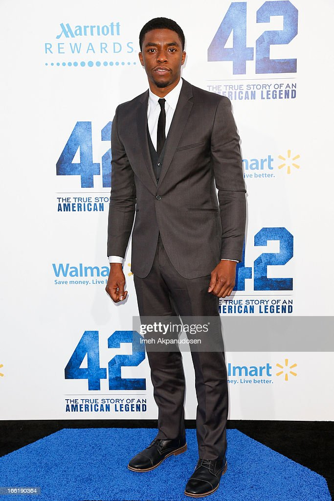 Actor Chadwick Boseman attends the premiere of Warner Bros. Pictures' And Legendary Pictures' '42' at TCL Chinese Theatre on April 9, 2013 in Hollywood, California.