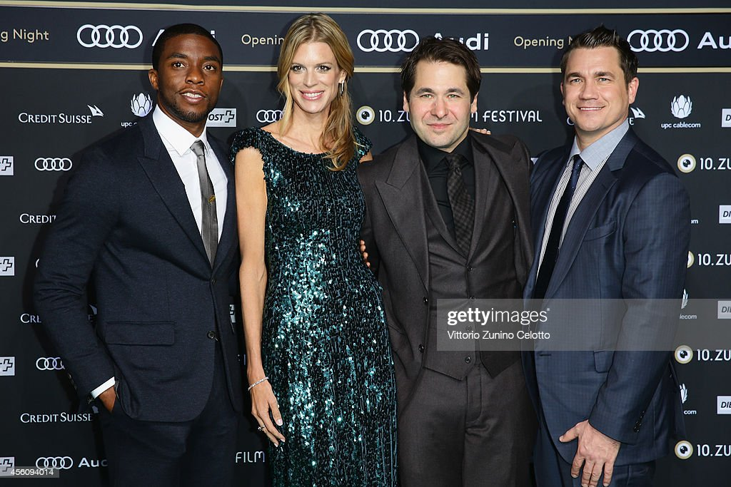 Actor Chadwick Boseman Festival Directors Nadja Schildknecht Karl Spoerri and director Tate Taylor attend the 'Get On Up' Opening Film and Opening...