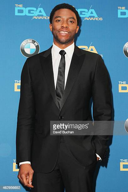 Actor Chadwick Boseman poses in the press room at the 67th Annual Directors Guild Of America Awards at the Hyatt Regency Century Plaza on February 7...