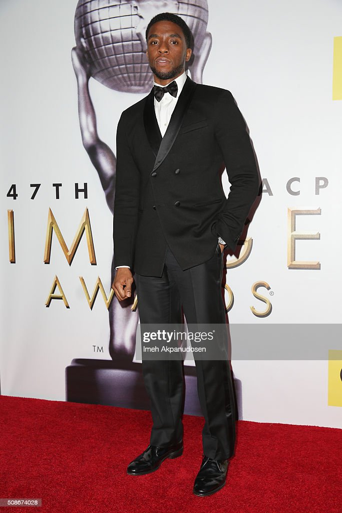Actor Chadwick Boseman poses in the press room during the 47th NAACP Image Awards presented by TV One at Pasadena Civic Auditorium on February 5, 2016 in Pasadena, California.