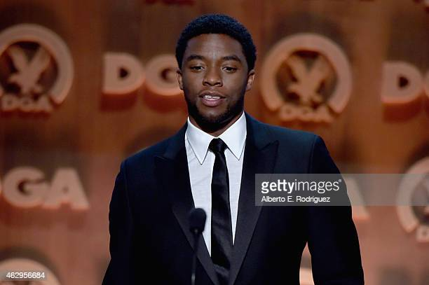 Actor Chadwick Boseman speaks onstage at the 67th Annual Directors Guild Of America Awards at the Hyatt Regency Century Plaza on February 7 2015 in...