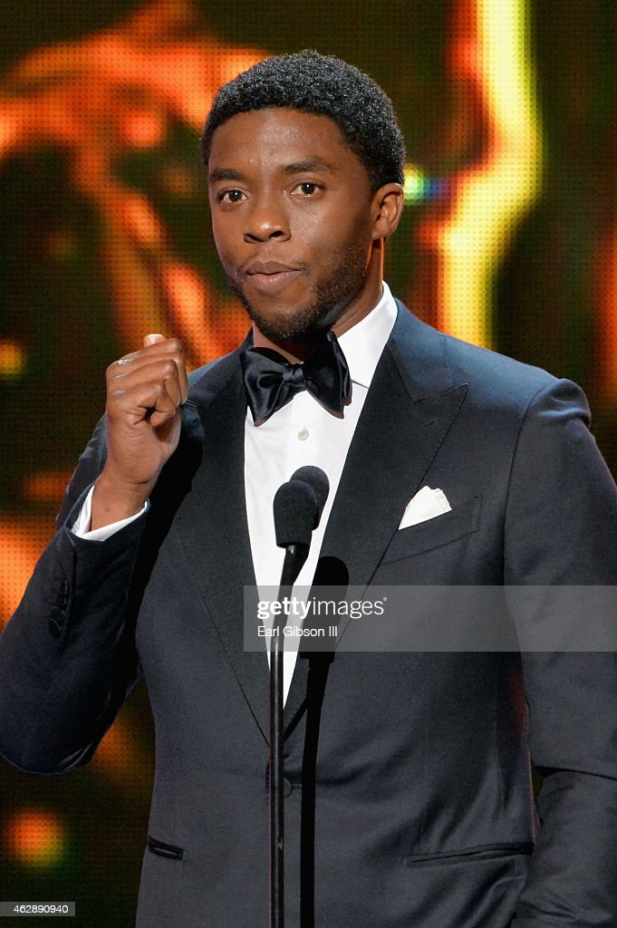 Actor Chadwick Boseman speaks onstage during the 46th NAACP Image Awards presented by TV One at Pasadena Civic Auditorium on February 6 2015 in...