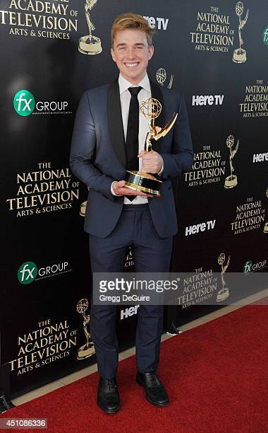 Actor Chandler Massey poses in the press room at the 41st Annual Daytime Emmy Awards at The Beverly Hilton Hotel on June 22 2014 in Beverly Hills...