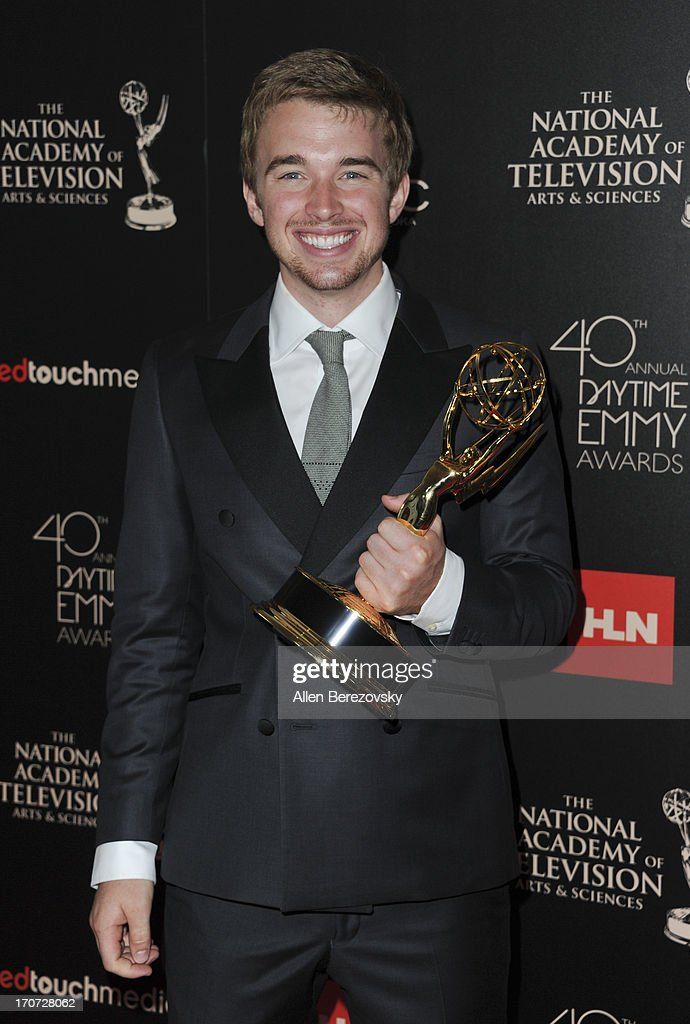 Actor Chandler Massey poses with the Outstanding Younger Actor In A Drama Series award for 'Days of Our Lives' at 40th Annual Daytime Entertaimment Emmy Awards at The Beverly Hilton Hotel on June 16, 2013 in Beverly Hills, California.