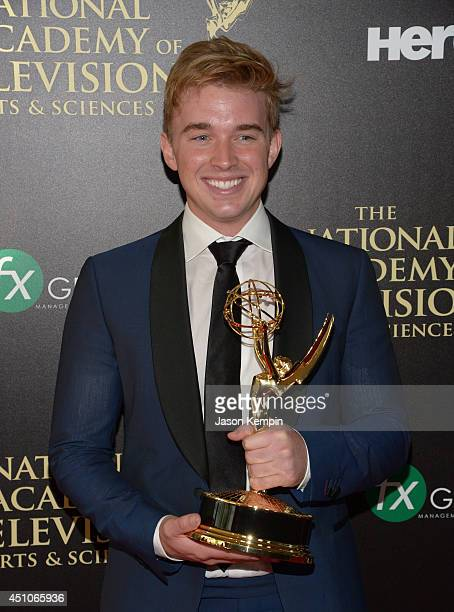 Actor Chandler Massey winner of Outstanding Younger Actor in a Drama Series for 'Days of Our Lives' poses in the press room during The 41st Annual...