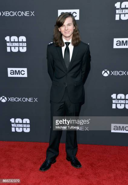 Actor Chandler Riggs attends AMC's celebration of the 100th episode of 'The Walking Dead' at The Greek Theatre on October 22 2017 in Los Angeles...