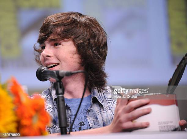 Actor Chandler Riggs attends AMC's 'The Walking Dead' panel during ComicCon International 2014 at San Diego Convention Center on July 25 2014 in San...