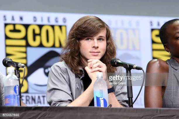 Actor Chandler Riggs from 'The Walking Dead' at the Hall H panel with AMC at San Diego ComicCon International 2017 at the San Diego Convention Center...