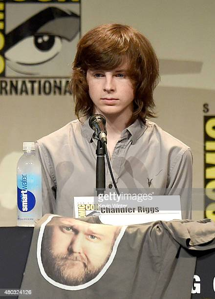 Actor Chandler Riggs speaks onstage at AMC's 'The Walking Dead' panel during ComicCon International 2015 at the San Diego Convention Center on July...