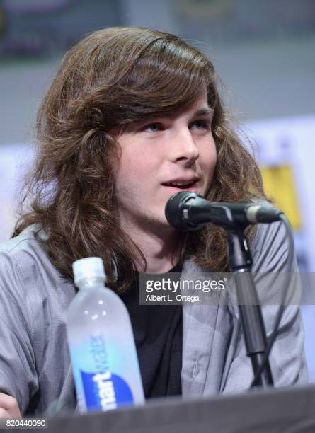Actor Chandler Riggs speaks onstage at ComicCon International 2017 AMC's 'The Walking Dead' panel at San Diego Convention Center on July 21 2017 in...