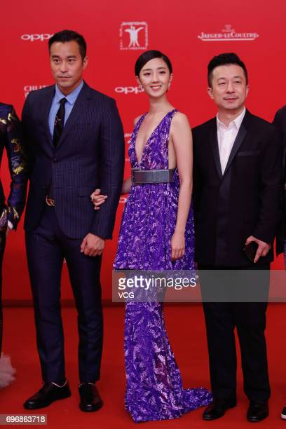 Actor Chang Hsiaochuan and actress Gwei Lunmei arrive at the red carpet of the 20th Shanghai International Film Festival on June 17 2017 in Shanghai...