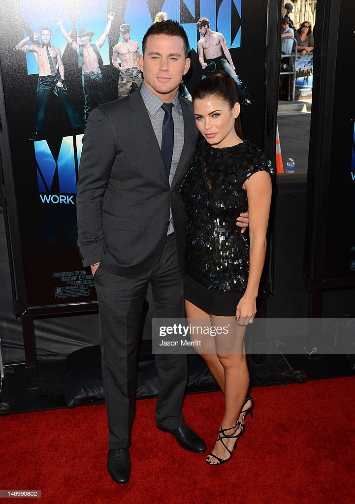 Actor <a gi-track='captionPersonalityLinkClicked' href=/galleries/search?phrase=Channing+Tatum&family=editorial&specificpeople=549548 ng-click='$event.stopPropagation()'>Channing Tatum</a> (L) and actress <a gi-track='captionPersonalityLinkClicked' href=/galleries/search?phrase=Jenna+Dewan-Tatum&family=editorial&specificpeople=7220442 ng-click='$event.stopPropagation()'>Jenna Dewan-Tatum</a> arrive at the premiere of Warner Bros. Pictures' 'Magic Mike' during the 2012 Los Angeles Film Festival at Regal Cinemas L.A. Live on June 24, 2012 in Los Angeles, California.