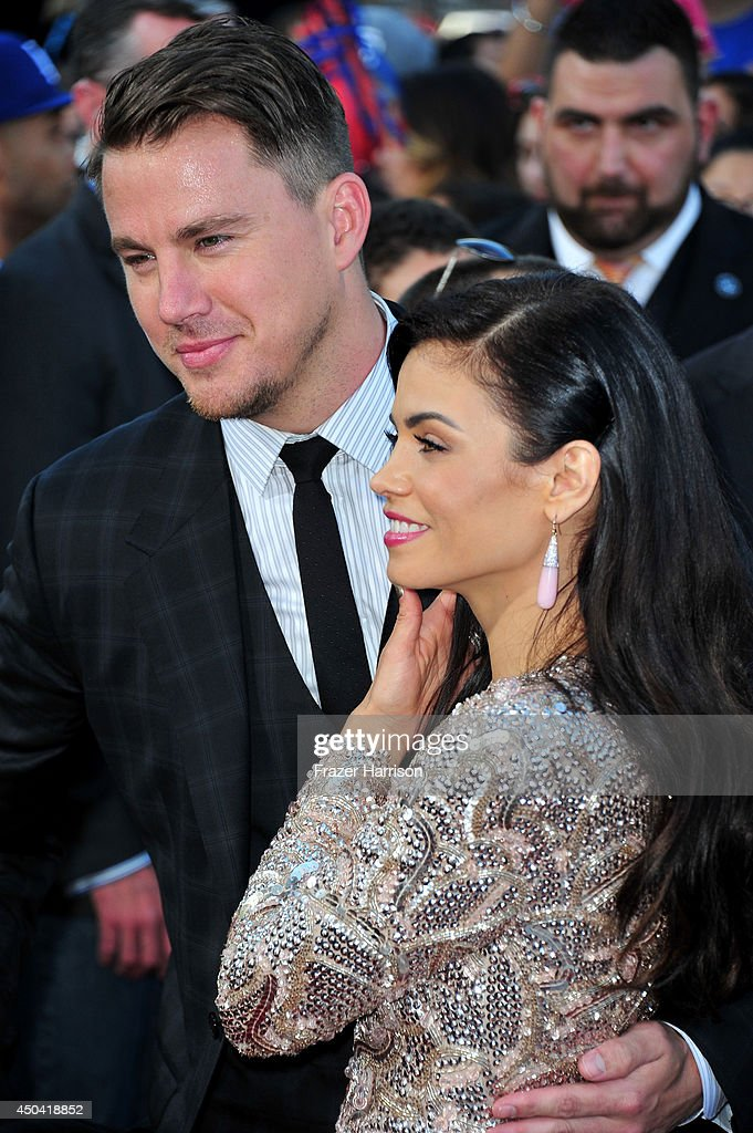 Actor Channing Tatum and actress Jenna Dewan-Tatum arrives at the Premiere Of Columbia Pictures' '22 Jump Street' at Regency Village Theatre on June 10, 2014 in Westwood, California.