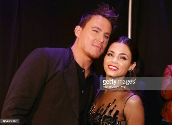 Actor Channing Tatum and actress Jenna DewanTatum attend the 2014 MTV Movie Awards at Nokia Theatre LA Live on April 13 2014 in Los Angeles California