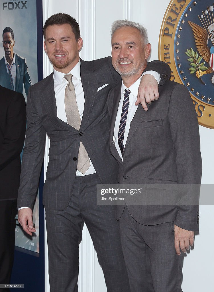 Actor Channing Tatum and director Roland Emmerich attends 'White House Down' New York Premiere at Ziegfeld Theater on June 25, 2013 in New York City.