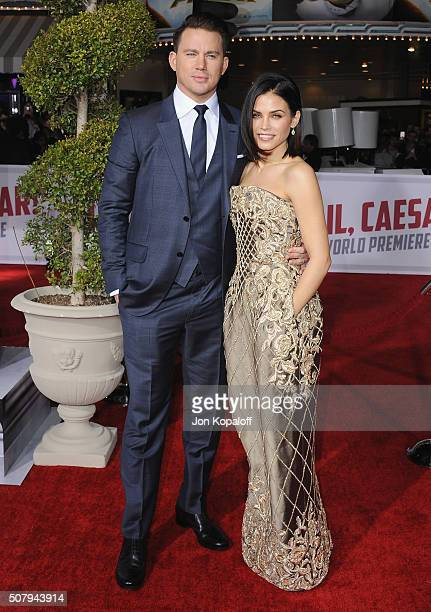 Actor Channing Tatum and wife actress Jenna Dewan Tatum arrive at the Los Angeles Premiere 'Hail Caesar' at Regency Village Theatre on February 1...