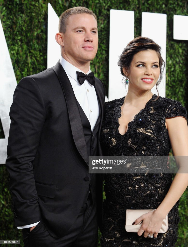 Actor Channing Tatum and wife Jenna Dewan arrive at the 2013 Vanity Fair Oscar Party at Sunset Tower on February 24, 2013 in West Hollywood, California.