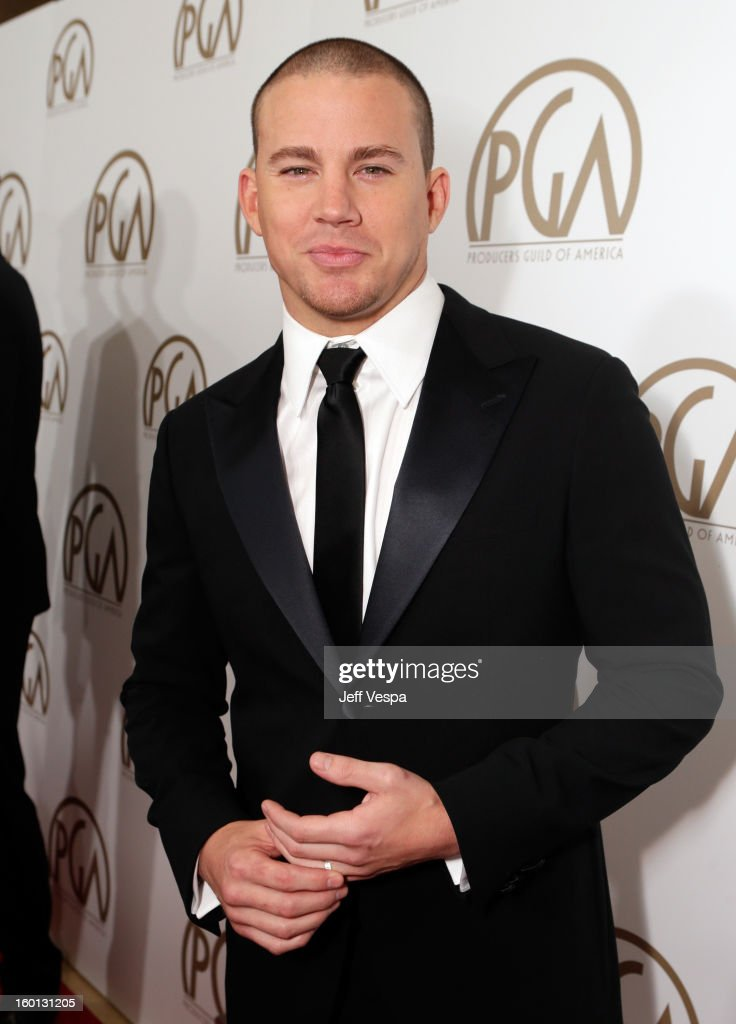 Actor <a gi-track='captionPersonalityLinkClicked' href=/galleries/search?phrase=Channing+Tatum&family=editorial&specificpeople=549548 ng-click='$event.stopPropagation()'>Channing Tatum</a> arrives at the 24th Annual Producers Guild Awards held at The Beverly Hilton Hotel on January 26, 2013 in Beverly Hills, California.