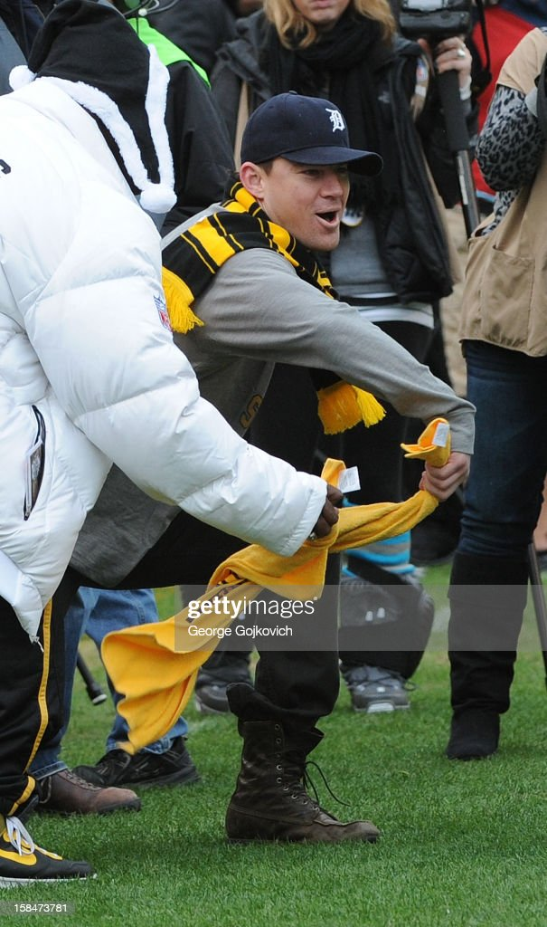 Actor Channing Tatum participates in Pittsburgh Steelers Terrible Towel Twirl on the sideline before a National Football League game between the San Diego Chargers and Steelers at Heinz Field on December 9, 2012 in Pittsburgh, Pennsylvania. The Chargers defeated the Steelers 34-24.